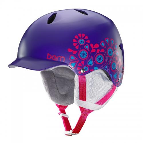 Snowboardová helma Bern Bandita Satin purple floral - AKCE