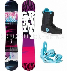 Dětský snowboard komplet Gravity Fairy blue (větší boty)