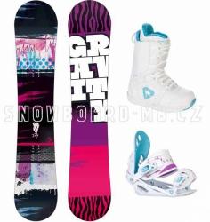 Dětský snowboard komplet Gravity Fairy white (větší boty)