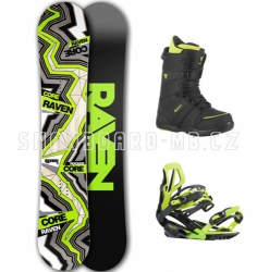 Snowboard komplet Raven Core Carbon zelený