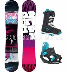 Dívčí snowboard komplet Gravity Fairy black (větší boty)