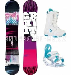 Dívčí snowboard komplet Gravity Fairy white (větší boty)